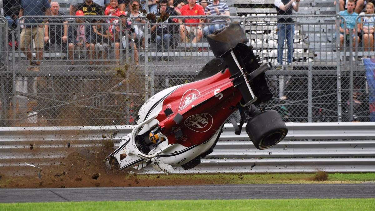 Формула-1: Эрикссон попал в ужасную аварию на гран-при Италии (видео)