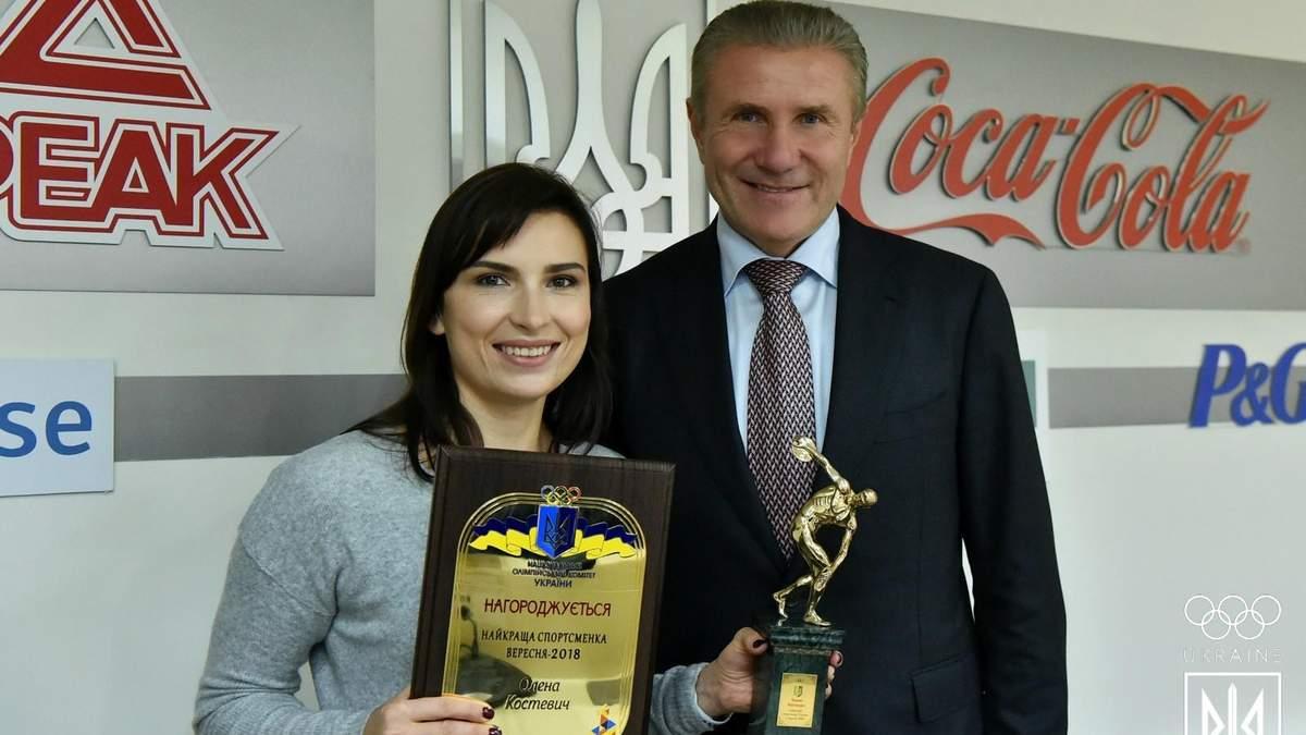 Олена Костевич вп'яте отримала нагороду найкращої спортсменки місяця в Україні