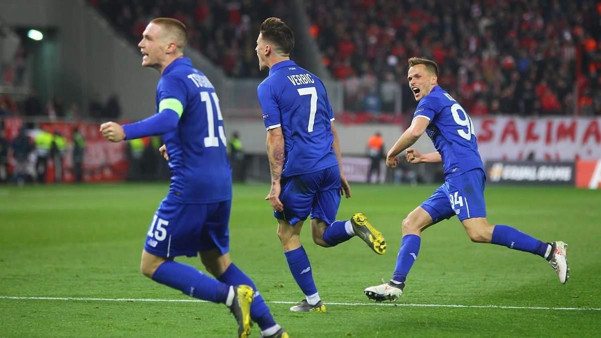 Динамо - Олімпіакос: відео голів, огляд матчу Ліги Європи 2018/2019