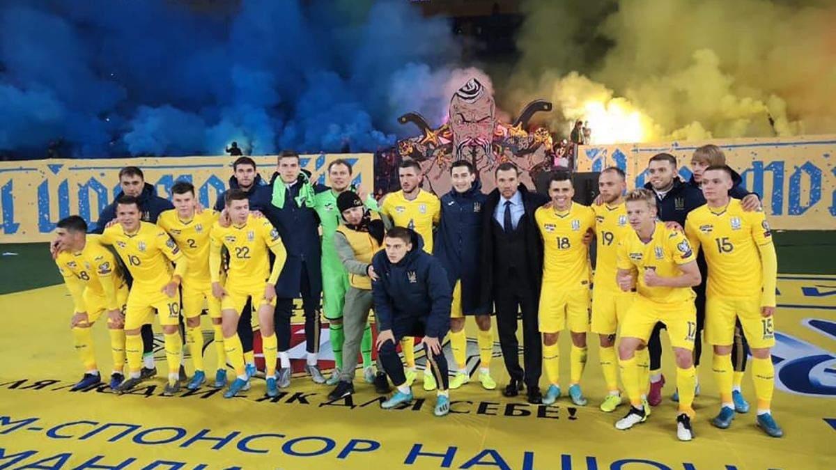 Сборная Украины после игры с Литвой