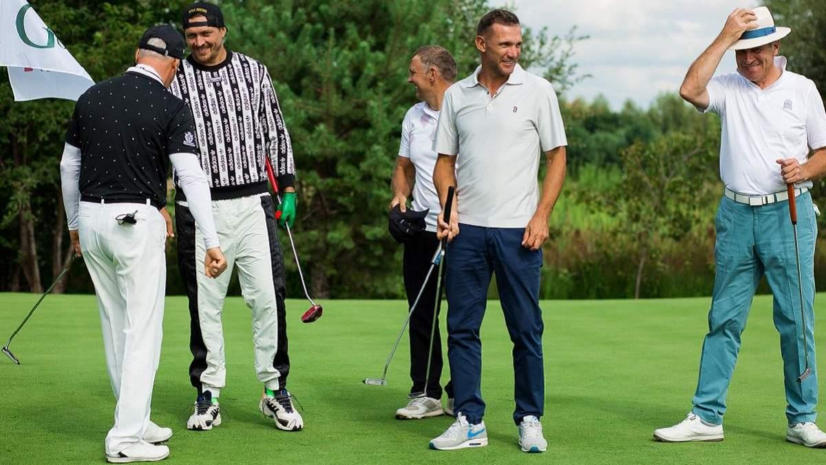 Шевченко в компании Кличко-младшего и Усика сыграл в гольф