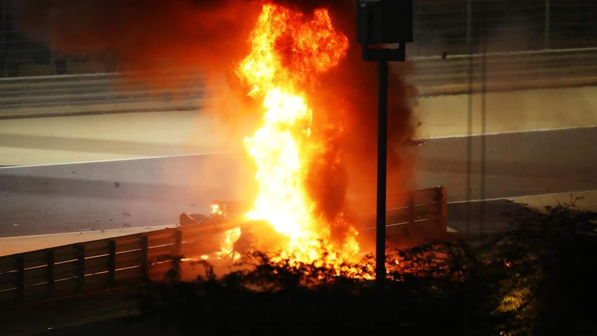 Авария Ромена Грожана гран-при Бахрейна 2020 - фото и видео