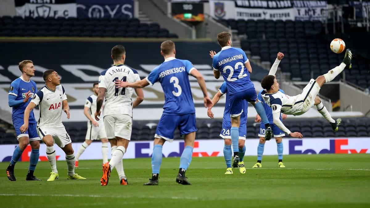 Півзахисник Тоттенхема Аллі забив ефектний гол в падінні через себе у матчі Ліги Європи: відео