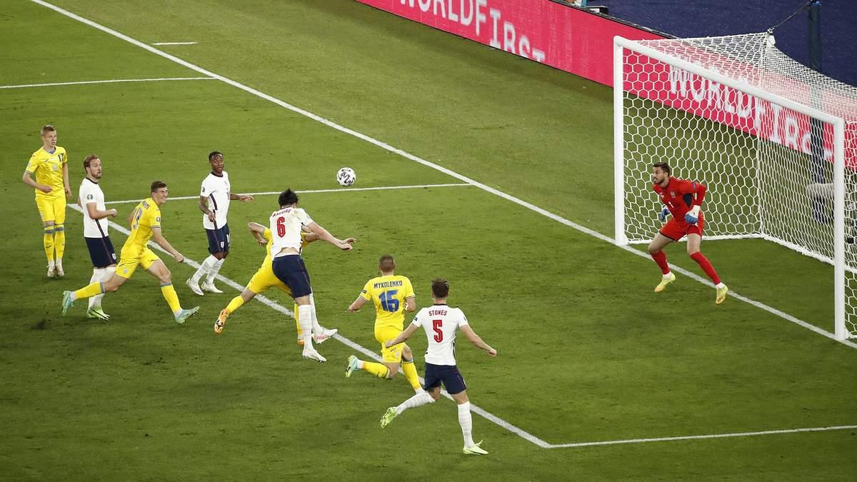 Англия забила второй раз в ворота Украины: Магвайр отличился после подачи со штрафного – видео