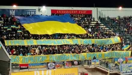 Болельщики вывесили патриотический баннер на матче Украина – Эстония в Запорожье: фото