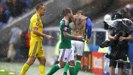 Ливень и град сорвали матч между Украиной и Северной Ирландией: зрелищные фото