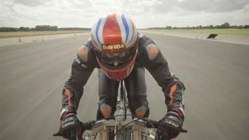 Британец разогнался на велосипеде до 280 км/ч, но не побил рекорд, принадлежащий женщине: видео