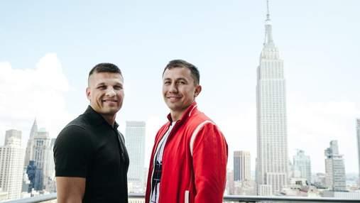 Деревянченко и Головкин провели дуэль взглядов перед титульным боем: видео