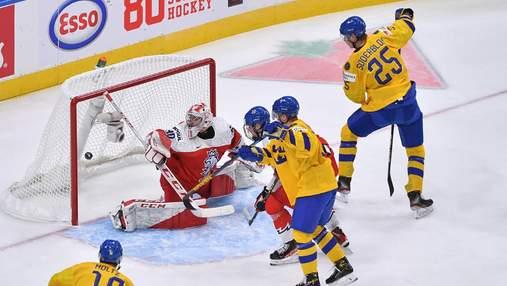 Прокинув собі між ногами та пробив: шведський хокеїст двічі забив найкрасивіший гол МЧС – відео