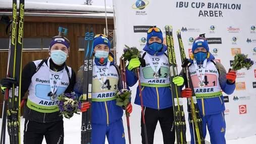 Сборная Украины по биатлону завоевала второе место в мужской эстафете на этапе Кубка IBU