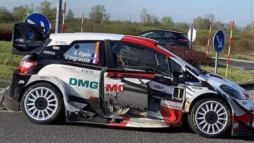 Чемпион мира по ралли Ожье устроил аварию на гоночном автомобиле и скрылся от полиции: видео