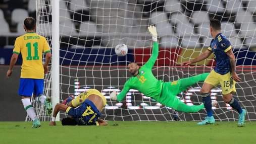 """Как игрок Колумбии бешеным ударом """"ножницами"""" через себя забил Бразилии: видео"""