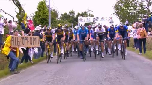 """Полиция задержала болельщицу, которая вызвала массовое падение велосипедистов на """"Тур де Франс"""""""