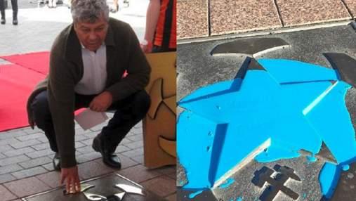 Фанаты Шахтера залили звезду Луческу синей краской в Донецке: фото